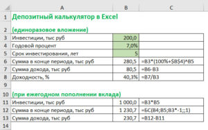 Депозитный калькулятор Excel расчет